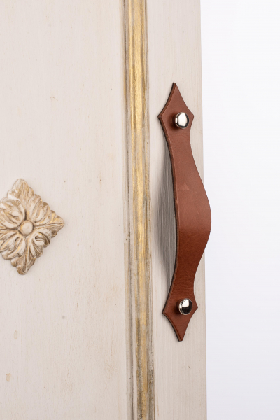 KUPID Leather Handle With 2 Round Screws in Silver Color