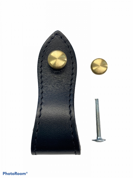 AMOR Stiches Leather Handle With 2 Round Brass Screws