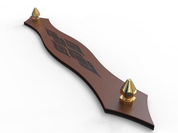 KUPID Leaves Motif Leather Handle With 2 Hexagonal Brass Screws