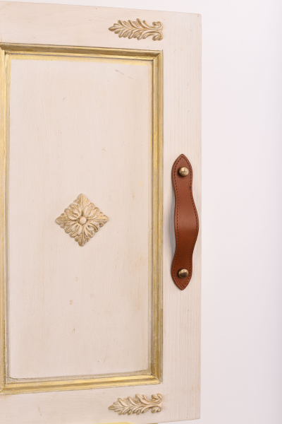 AMOR Stiches Leather Handle With 2 Round Engraved Antique Brass Screws