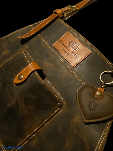 Luxury genuine leather BBQ apron