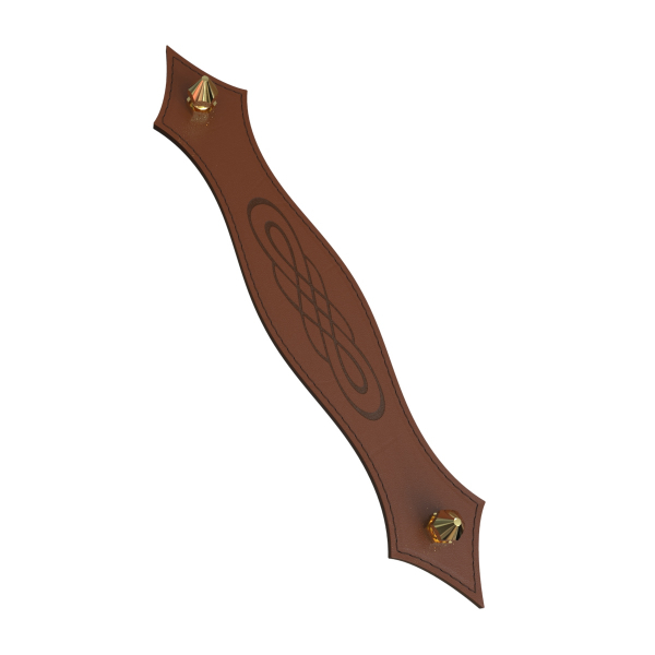 KUPID Spirit Motif Leather Handle With 2 Hexagonal Brass Screws and Stiches
