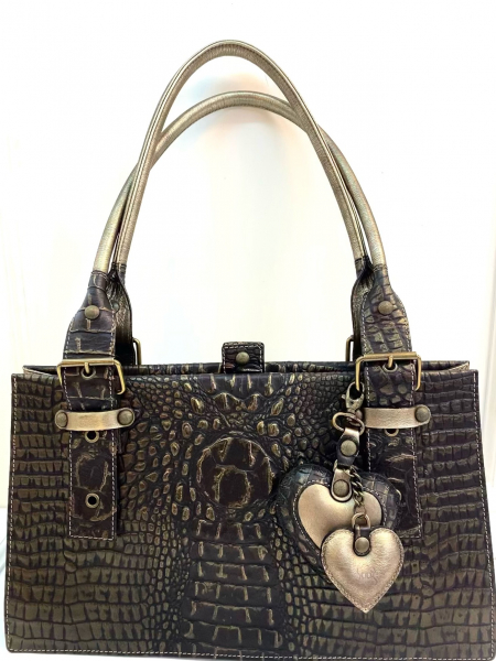 Leather bag in imitation crocodile skin and the color of old gold SOLD OUT