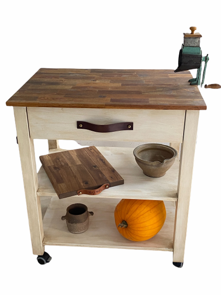 Handcrafted wooden kitchen island on casters with brakes