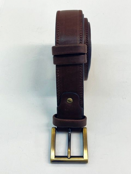 LEATHER BELT Brown ( width 3,5 cm, 1 3/8 inch ) - Firs Quality Leather