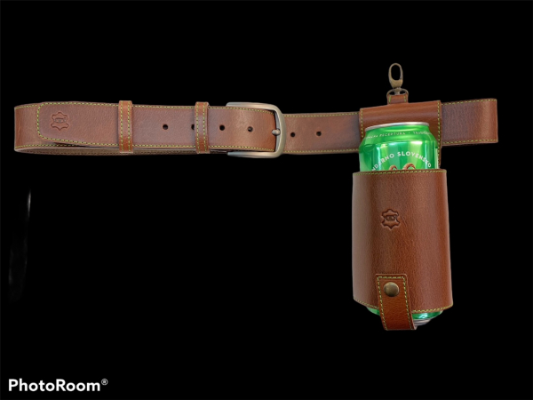 Leather beer holster with belt