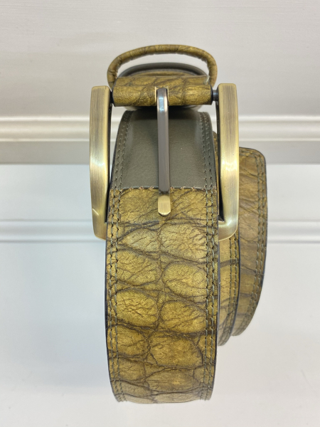 LEATHER BELT Green with reptiles skin imitation ( width 4 cm, 1,6 inch ) - Firs Quality Leather