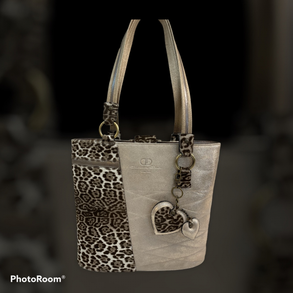 Leather bag in the color of old gold with imitation leopard skin    SOLD OUT