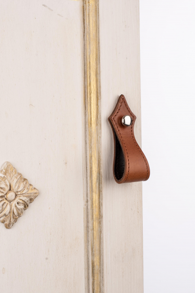 KUPID Stiches  Leather Handle With 2 Round Silver Screws